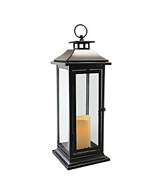Lumabase Black Traditional Metal Lantern with LED Candle