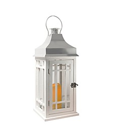 Lumabase White Wooden Lantern with Chrome Roof and LED Candle