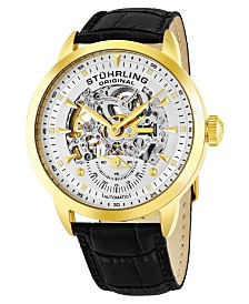 Stuhrling Original Stainless Steel Gold Tone Case on Black Alligator Embossed Genuine Leather Strap, Silver Skeletonized Dial, With Gold Tone Accents
