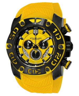 Stuhrling Original Black IPb Case, Yellow Dial, Black and Yellow Bezel, and Yellow High Grade Silicon Rubber Strap