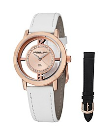 Original Stainless Steel Rose Tone Case on White Genuine Leather Interchangable Strap With Additional Black Leather Strap, Rose Tone Dial, With Silver Tone and Swarovski Crystal Accents