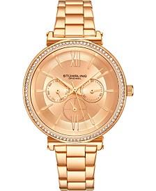 Stuhrling Original Women's Multi-Function, Gold-Tone Case and Bracelet, Gold Dial Watch