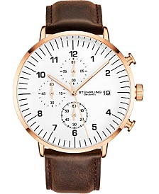 Stuhrling Original Men's Rose Case, White Dial, Brown Leather Strap, Chrono Watch