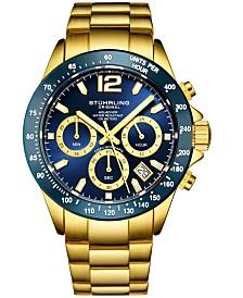 Stuhrling Original Men's Chrono, Dark Blue Dial, Blue Bezel/Gold Case, Gold Bracelet Watch