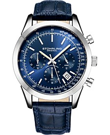 Original Men's Quartz Chronograph Date Watch, Silver Tone Alloy Case, Blue Dial, Blue Leather Strap