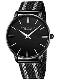 Stuhrling Original Men's Black Dial, Silver Accents, Silver/Black Mesh Bracelet Watch