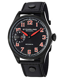 Stuhrling Original Stainless Steel Genuine Leather Strap Watch