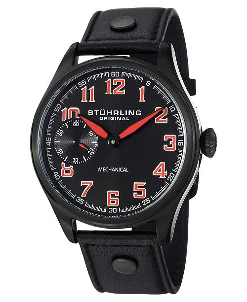 Stuhrling Original Stainless Steel Black Pvd Case on Black Genuine Leather Strap With Black Pvd Metal Inserts, Black Dial, With Black, White, and Red Accents