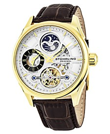 Original Men's Automatic Skeletonzied Dual Time Watch, Gold Tone Case on Brown Alligator Embossed Genuine Leather Strap, Black and Silver Tone Dial, With Gold Tone, Black, and Blue Accents