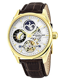 Stuhrling Original Men's Automatic Skeletonized Dual Time Watch