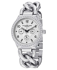 Stuhrling Original Stainless Steel Case on Chain Bracelet, Silver Tone Dial, Swarovski Crystal Studded Bezel, With Black and White Accents