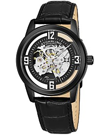 Stuhrling Original Men's Dress Skeletonized Automatic Watch, Black Case on Black Alligator Embossed Genuine Leather Strap, Black Skeletonized Dial With Silver Tone Accents