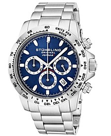 Original Men's Quartz Chronograph Date Watch, Silver Case, Blue Dial With Silver Bezel, Stainless Steel Bracelet