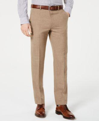 Men's Classic-Fit UltraFlex Stretch Light Brown Textured Suit Pants