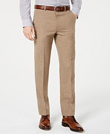 Men's Classic-Fit UltraFlex Stretch Light Brown Textured Suit Pants