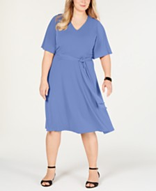 Charter Club Plus Size Semi-Fitted Midi Dress, Created for Macy's