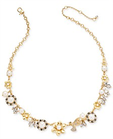 "kate spade new york Gold-Tone Imitation Pearl Floral 17"" Statement Necklace"