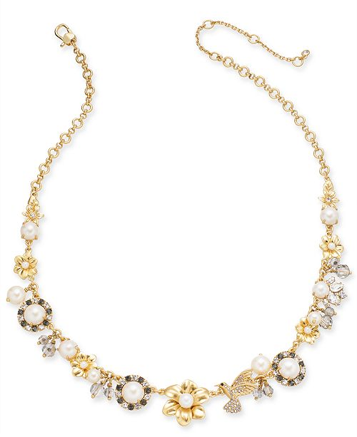 """kate spade new york Gold-Tone Imitation Pearl Floral 17"""" Statement Necklace"""