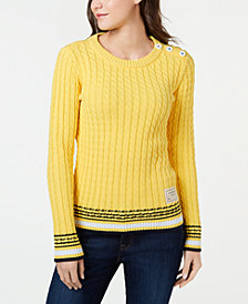 Tommy Hilfiger Cotton Button-Shoulder Ribber Sweater, Created for Macy's