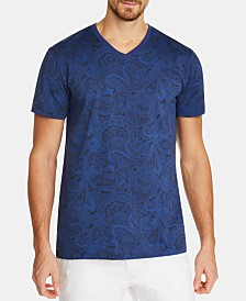 Tallia Men's Slim-Fit Paisley V-Neck T-Shirt