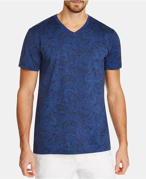 Tallia Men's Slim-Fit Paisley V-Neck T-Shirt
