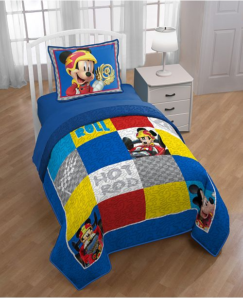 Disney Jr. Mickey  Mouse Clubhouse Roadster Racer Twin Quilt with Sham