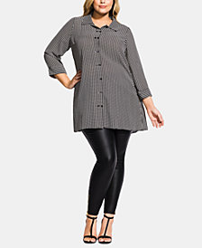 City Chic Trendy Plus Size Printed Double-Button Tunic
