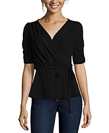 John Paul Richard Short Sleeve Wrap Top