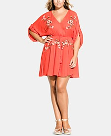 Trendy Plus Size Floral-Embroidered Tunic
