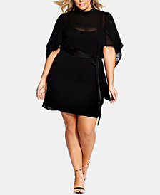 City Chic Trendy Plus Size Kimono-Sleeve Fit & Flare Dress