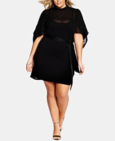 City Chic Trendy Plus Size Kimono-Sleeve Fit & Flare Dress