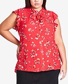 City Chic Trendy Plus Size Flutter-Sleeve Blouse