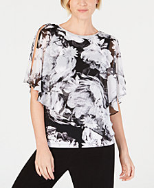 MSK Petite Embellished Split-Sleeve Top