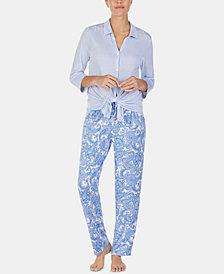 Ellen Tracy Printed Long-Sleeve Top & Pajama Pants Set