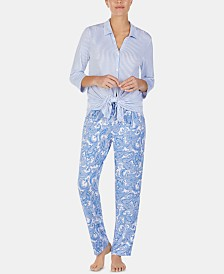 Ellen Tracy Printed Long-Sleeve Top & Pajama Pants Set