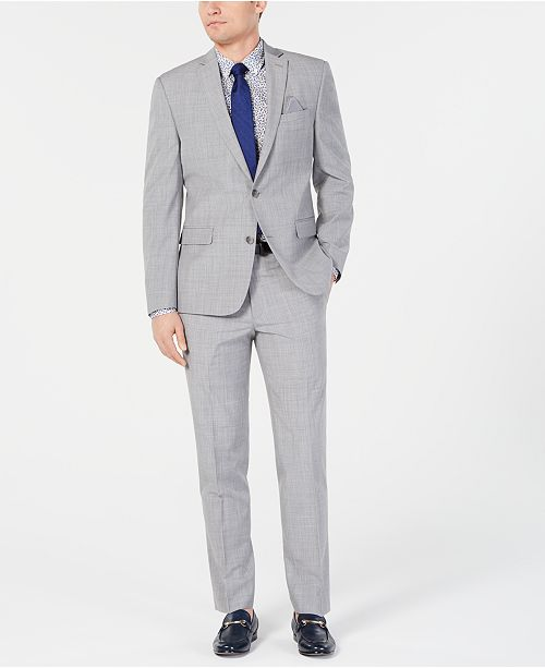 Bar III Men's Slim-Fit Stretch Light Gray Suit Separates, Created for Macy's