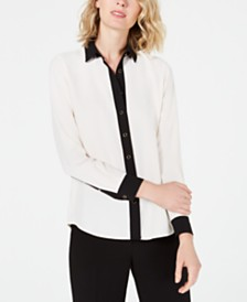 Anne Klein Contrast-Trim Button-Up Shirt