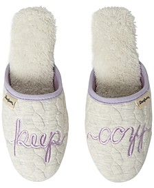 Women's Cable Quilt Novelty Scuff Slippers, Online Only