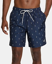 "Men's Quick-Dry Anchor-Print 8"" Swim Trunks"