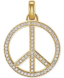 Michael Kors Gold-Tone Sterling Silver Large Pavé Peace Charm