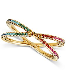 14k Gold-Plated Sterling Silver Rainbow Crossover Ring
