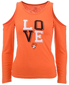Wes & Willy Oklahoma State Cowboys Cold Shoulder Long Sleeve T-Shirt, Girls (4-7)