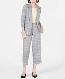 Bar III Open-Front Plaid Jacket, Wide-Leg Pants & T-Shirt, Created for Macy's