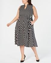 b429807e84b Anne Klein Plus Size Striped Midi Dress