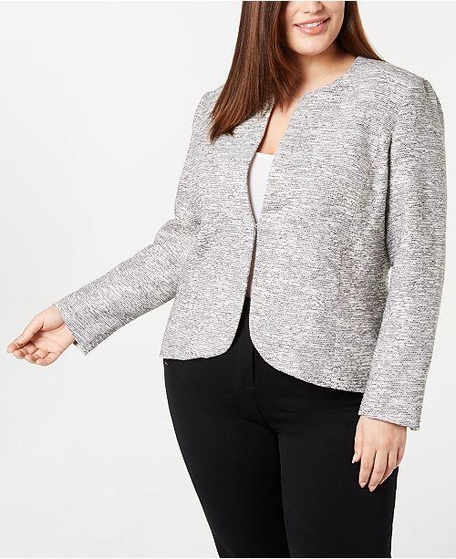 Anne Klein Plus Size Tweed Blazer