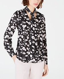 Bar III Printed Tie-Neck Blouse, Created for Macy's
