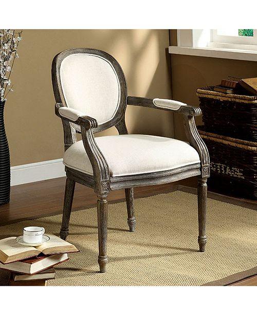 Benzara Rustic Accent Chair With Beige Linen Fabric