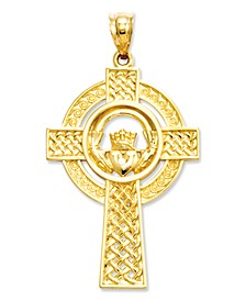 14k Gold Charm, Celtic Claddagh Cross Charm