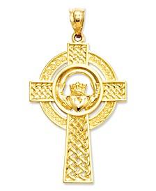 14k Gold Charm, Celtic Claddagh Cross Charm