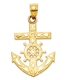 14k Gold Charm, Mariner's Cross Charm